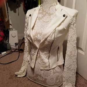 Material Girl Blazer with Stretchy Lace Sleeves